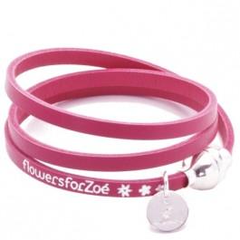 Bracelet Allure 3 tours fushia fermoir argenté Flowers for Zoé