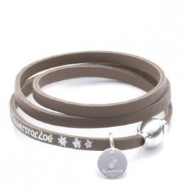 Bracelet Allure 3 tours taupe fermoir argenté Flowers for Zoé