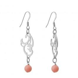 Boucles d'oreilles mini baroque plaquées argent et perle d'agate rose