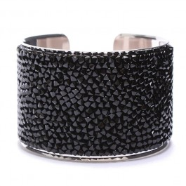 Black and Crystal Strass Cuff