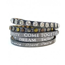 Bracelet Divine metallic gunmetal Good Work(s) Make a Difference