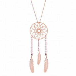 Sautoir Dreamcatcher plaqué or rose