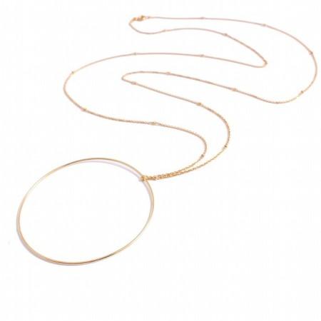 Sautoir grand anneau plaqué or