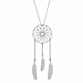 Dreamcatcher Silver Long Pendant Necklace
