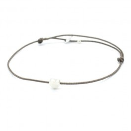 Silver Heart Taupe Cord Bracelet