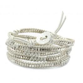Bracelet white silver and braid Nakamol