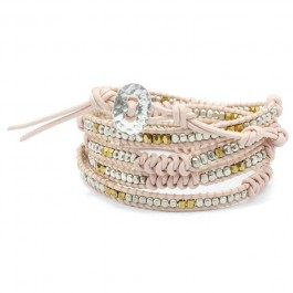 Bracelet pink silver and braid Nakamol