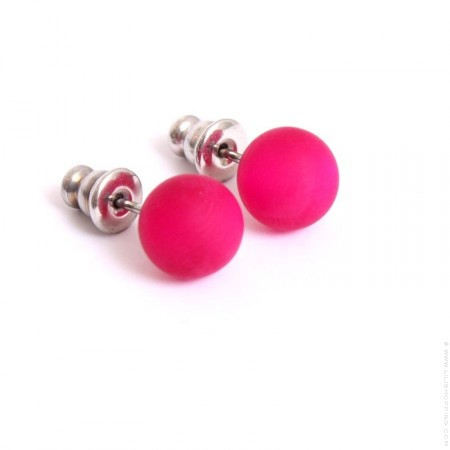 Fushia resin earrings