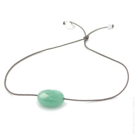 Bracelet agate verte ovale à facettes