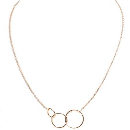 Collier 3 anneaux sur chaine plaqué or
