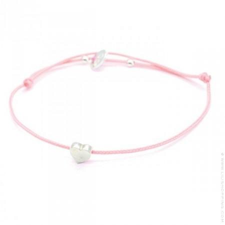 Bracelet coeur en argent sur lien rose