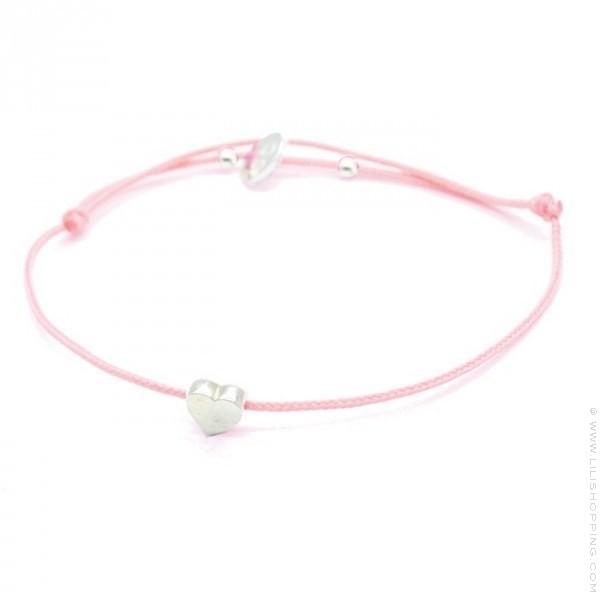 bracelet coeur en argent sur lien rose lili shopping. Black Bedroom Furniture Sets. Home Design Ideas