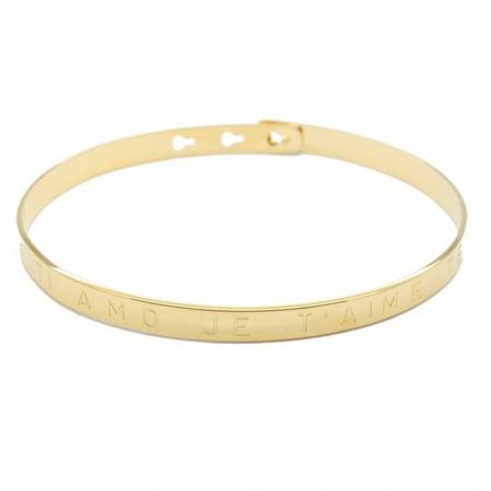 Bracelet I love you Ti amo Je t'aime Te quiero plaqué or