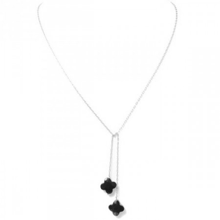 Silver and Black onyx Long Lariat Necklace