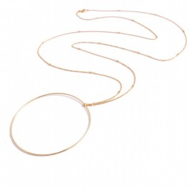 Gold Plated Large Ring Long Necklace