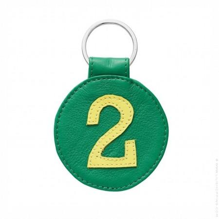 Porte clé en cuir n°2 verte et jaune