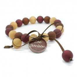 Gold, red and brown mini beads bracelet Zoe Bonbon