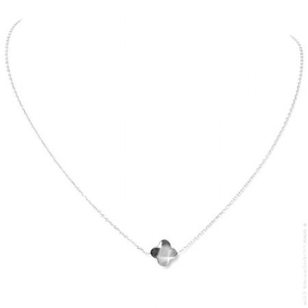 Silver black Clover Necklace