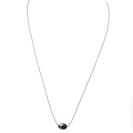 Faceted oval black onyx necklace