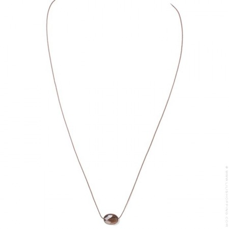 Faceted oval smoked quartz necklace