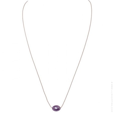 Faceted oval purple amethyst necklace
