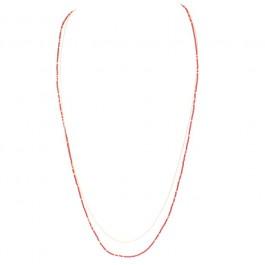 Sautoir Canyon chaîne plaquée or et perles rouges