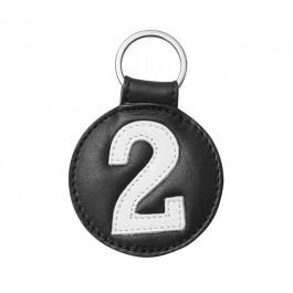 Porte clé en cuir n°2 noir et blanc  Entre 2 Rétros