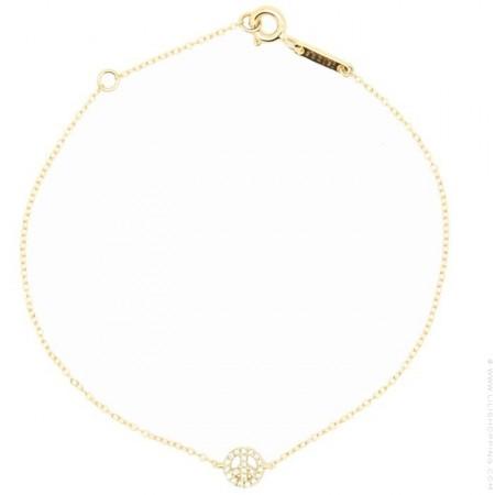 Bracelet or 18 carats et Peace and Love diamants