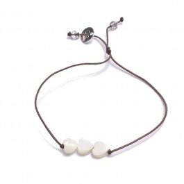 Bracelet 3 coeurs nacre blanche