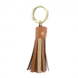 Porte clés cuir et glitter camel