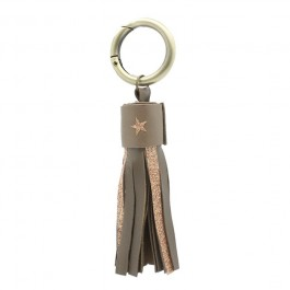 Glitter and leather keychain