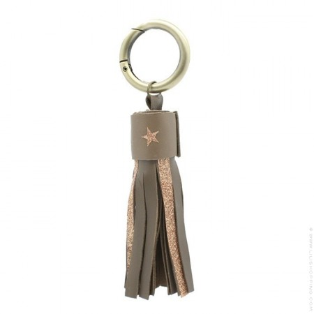 Taupe glitter and leather keychain