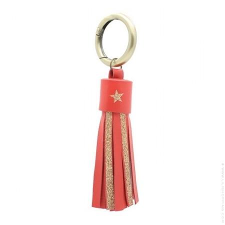 Porte clés cuir et glitter rouge