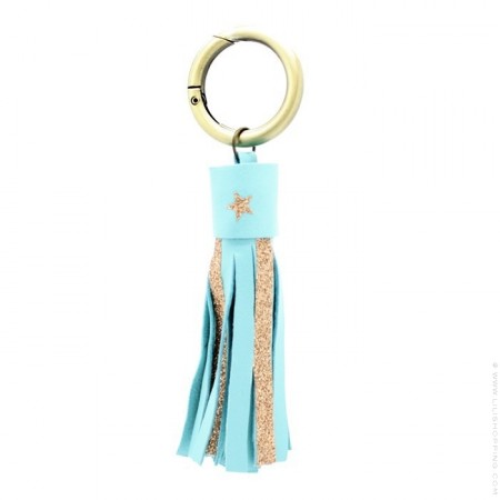 Turquoise glitter and leather keychain