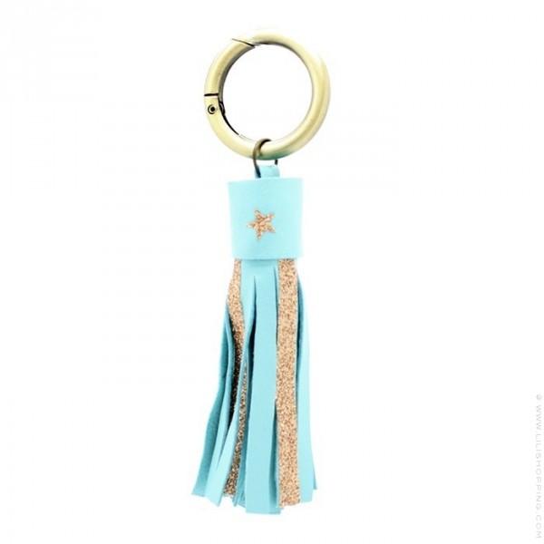 Porte Clés Cuir Et Glitter Turquoise Lili Shopping - Porte clé cuir