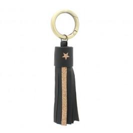 Porte clés cuir et glitter noir