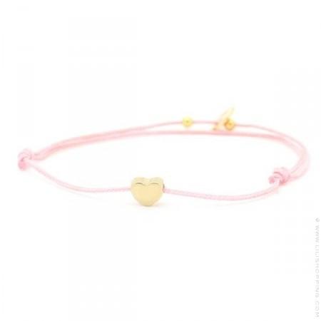 Bracelet coeur plaqué or sur lien rose