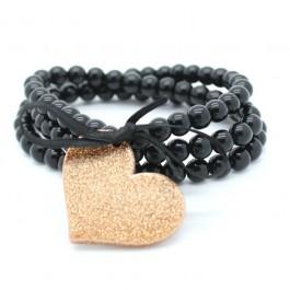 Bracelet / collier noir coeur bronze doré