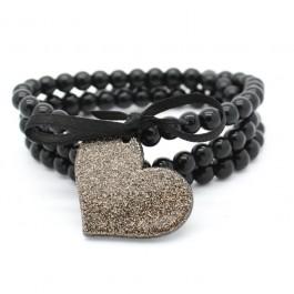 Bracelet / collier noir coeur noir doré