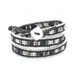 Bracelet chain wrap noir et argent Nakamol