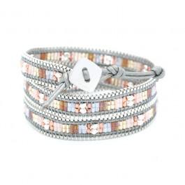 Bracelet chain wrap gris et rose Nakamol