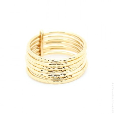 Carved Gold Plated Stackable Ring