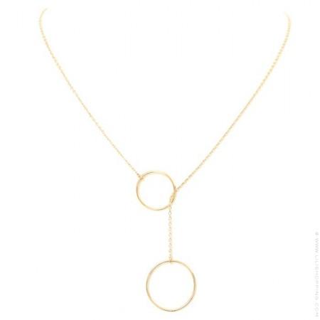 Collier cravate 2 anneaux plaqué or