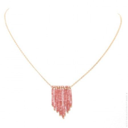 Gold platted necklace with pink glass beads