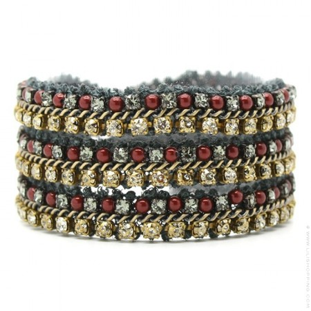 Burgundy antic gold bracelet