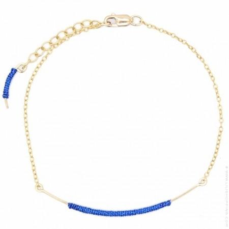 Blue curved wand gold platted royal blue bracelet