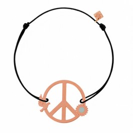 Bracelet Peace & Love plaqué or rose