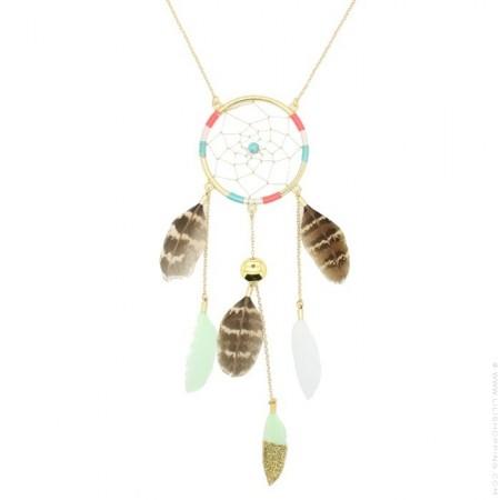 Hipanema gold dreamcatcher long necklace