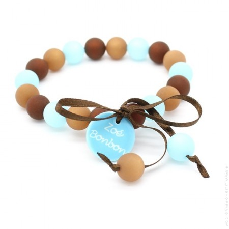 Turquoise and brown mini beads bracelet Zoe Bonbon