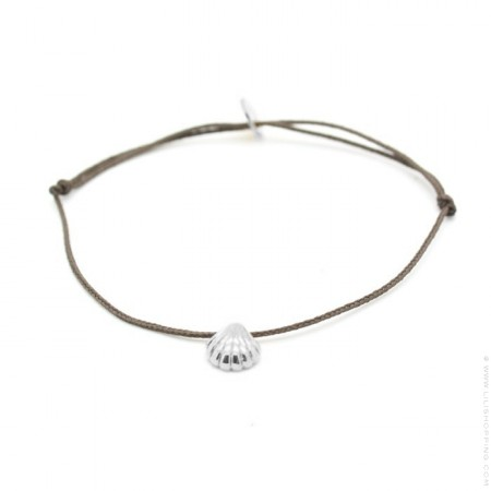 Silver seashell taupe cord bracelet
